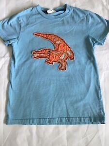 Mini-Boden-Applique-Boys-9-10-Shirt-T-shirt-Blue-Orange-Alligator-9-10yrs