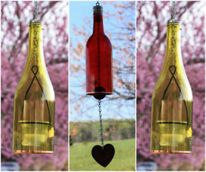 Botella de vino tinto Cocheillón De Viento Amarillo Linterna Set-Patio Iluminación De-Idea de Regalo