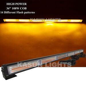 35-034-108W-COB-LED-TRAFFIC-VEHICLE-LIGHT-BAR-BEACON-EMERGENCY-WARNING-STROBE-AMBER
