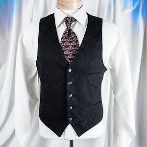 New Vesuvio Napoli Men/'s plaid Tuxedo Vest/_Self Tie Bowtie /& Hankie set Gray