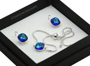 925-Silver-Adjustable-Bracelet-Set-10mm-Bermuda-Blue-Crystals-from-Swarovski