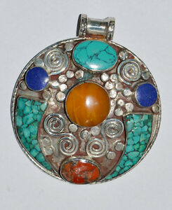 Asian-design-tribal-Ethnic-Sterling-Silver-Pendant-Turquoise-Stone-locket-OCT12