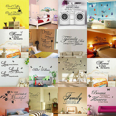 DIY Vinyl Art Home Room Decor Quote Wall Decal Stickers Bedroom Removable Mural