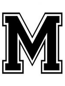 Varsity College Lettering Letter M Car Tablet Vinyl Decal Ebay