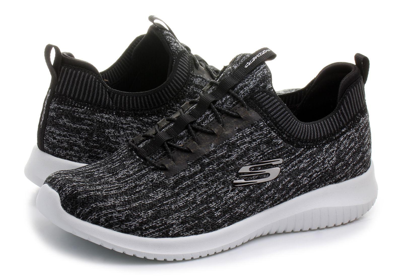 Skechers Ultra  Flex Womens Running Slip on Trainer  Walking shoes - Black Grey