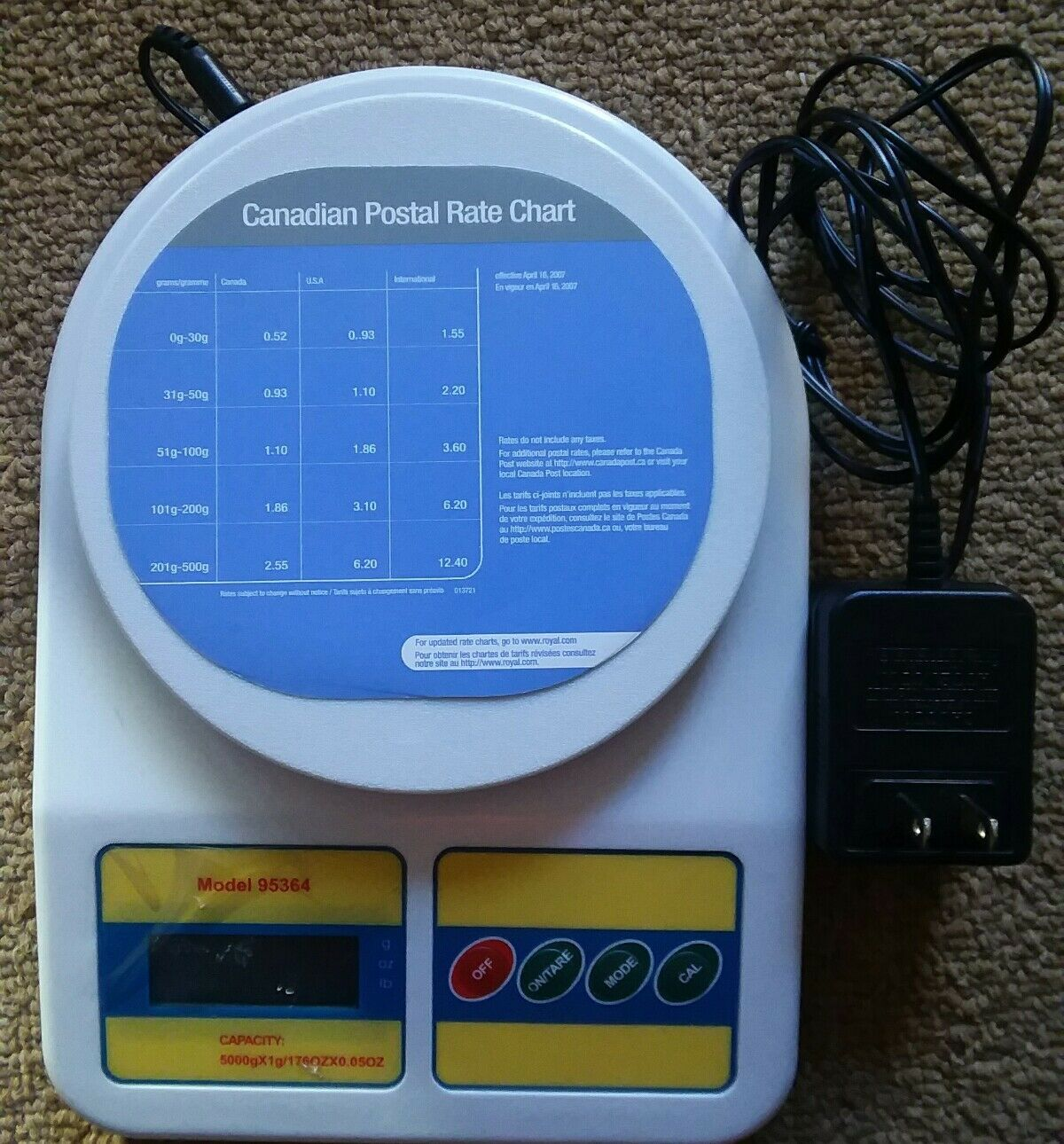 LN Cen-Tech Digital Scale Portable Weighs Ounces Grams & Pounds A C Adptr