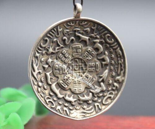 5 CM Tibet Silver China Zodiac Animal Nine palace lattice Eight Diagrams Pendant