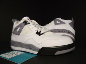 1c8b22ebeca8 KIDS NIKE AIR JORDAN IV 4 RETRO PS OG WHITE BLACK CEMENT GREY 308499 ...