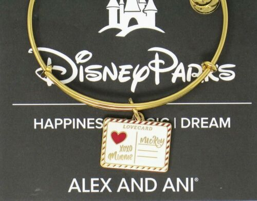 Disney Alex and Ani Mickey /& Minnie Love Letter Charm Bracelet Bangle GOLD Card