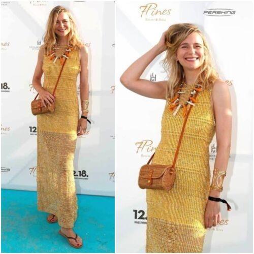 Elastic Zara White amp; Yellow Printed Long Size Dress L qqOXCS