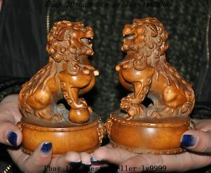 Old-china-Boxwood-wood-master-hand-carved-foo-dog-lion-rich-animal-statue-pair-a