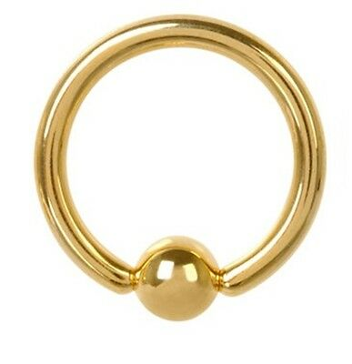 """Captive Lip Ear Daith Ring 16 Gauge 5//16/"""" Gold Plate 3mm Ball Body Jewelry"""
