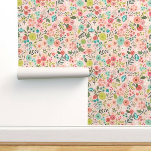 Removable Water-Activated Wallpaper Modern Floral Flowers Garden Spring Blooms