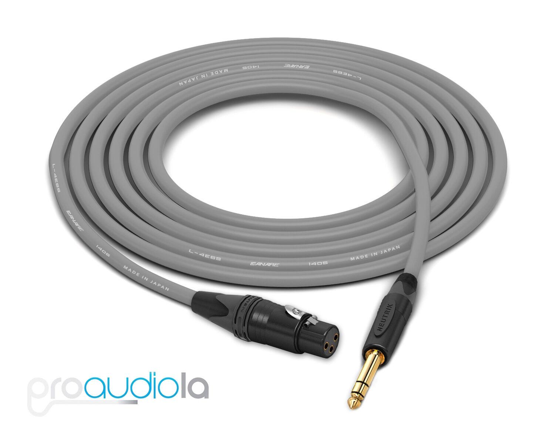 Canare Quad l-4e6s Cable     Neutrik oro XLR-F a TRS   gris 60 pies   60 Pies 60' e6a5d7