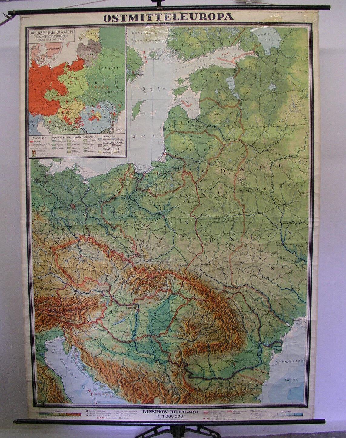 Poster per Pareti Scolastiche Cartina da Völkerkarte Lingue Polacco Tedesco