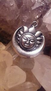 Sterling Crescent Moon Sun pendant Wiccan Pagan