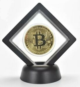 Commemorative-Bitcoin-Collectable-Gold-Plated-Coin-In-Floating-Display-Stand