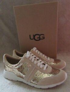 97ea9b47561 Details about UGG Australia Jaida Glitter Gold Suede Leather Sneaker Shoes  US 8.5 EU 39.5 NWB