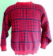 CHARNOS Vintage MENS Sweater LARGE Multicolor RED Navy CHECKED England SZ Size**