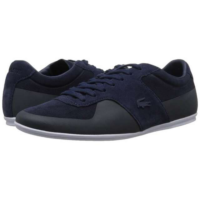 7d0a6e88ff2 Lacoste Men s Turnier 216 1 Low-Rise Leather Sneakers Navy Blue Casual Shoes  NEW