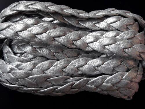 6 metros de cuero trenzado plano de Polipiel de 8mm color Gris plata pulseras