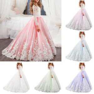 a0cb13a0ab2e0 Details about Flower Girls Long Sleeve Lace Prom Dress Bridesmaid Wedding  Party Communion Gown