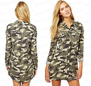 ff19434218089 Ladies NEW Camouflage Army Print Utility Button Front Camo Top Shirt ...