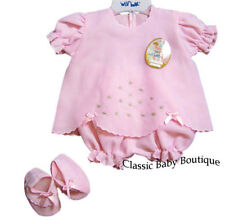 NWT Will'beth Pink Rosebud Diaper Set Booties Preemie Baby Girls Boutique 3 pc