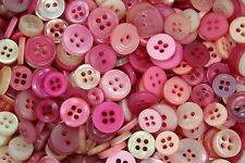 100 SMALL PINK Buttons New - Great for Sewing Craft Scrapbooking & more