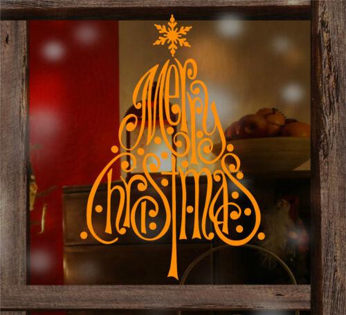 Feliz Navidad Árbol De Copos De Nieve Ventana Pegatinas De Pared Decoración Tienda Navidad.