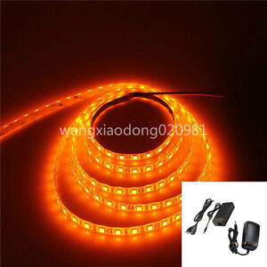 5050-Orange-LED-Strip-60leds-M-ribbon-Light-Lamp-Waterproof-12V-WH-XMAS-amp-Power