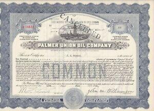 PALMER-UNION-OIL-COMPANY-1928-COMMON-STOCK-CERTIFICATES-Oil-Rig
