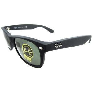 Image is loading Rayban-Sunglasses-New-Wayfarer-2132-Black-Rubber-Green- 667805baf84c