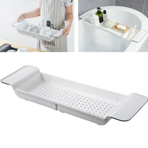 1 pc Bathtub Serving Tray Plastic Scalable Sky-blue Shower Organizer for Kitchen