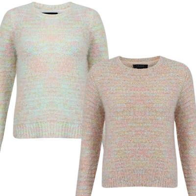 Womens Amara Reya Ladies Crew Neck Long Sleeve Feather Knit Jumper Top Size 8-16
