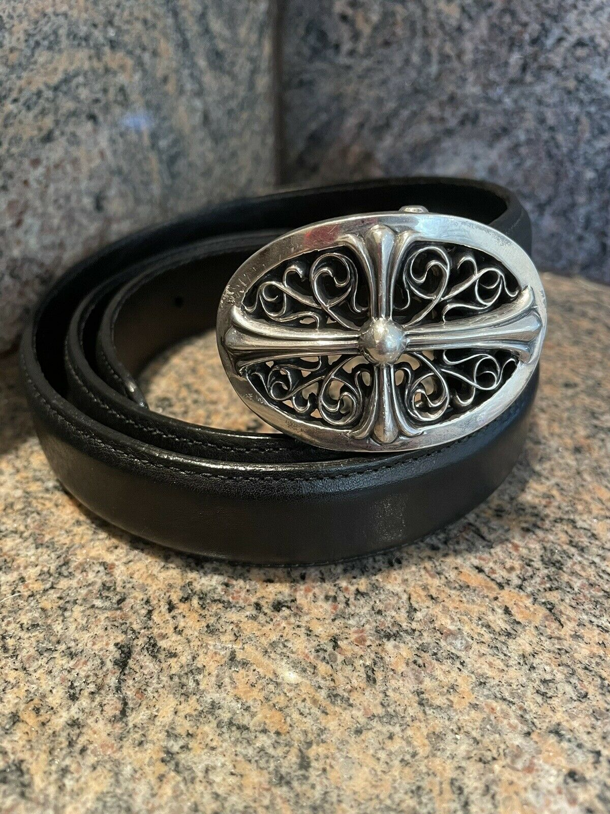 Authentic Rare PETITE!! Chrome Hearts Sterling Oval Cross Buckle With Black Belt