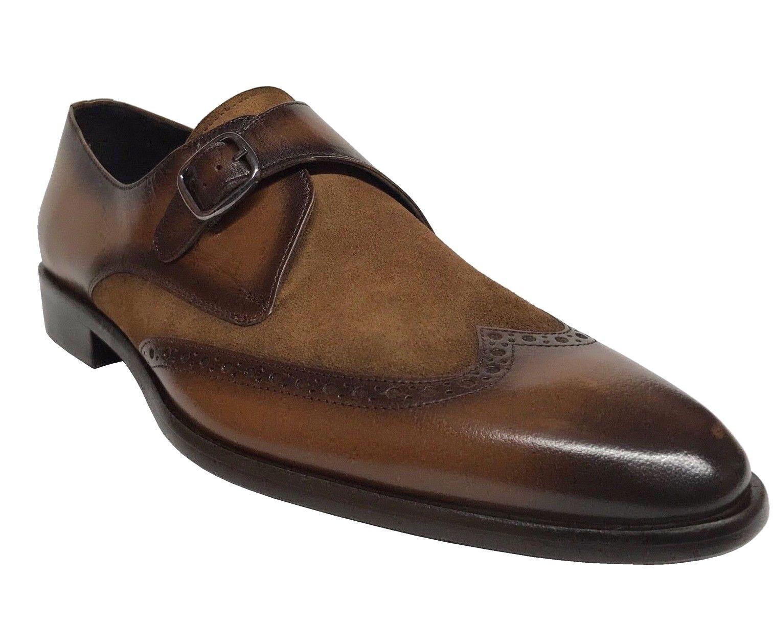 Sito ufficiale Corrente Corrente Corrente Uomo Wing Tip Leather Suede Monk Strap Dress scarpe Tobacco 5072  fantastica qualità
