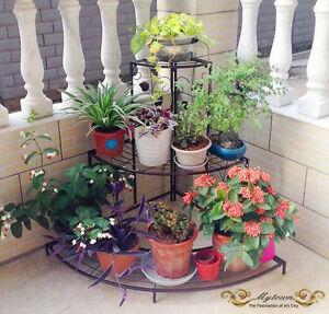 Outdoor Indoor Pots Plant Stand Garden Balcony Metal 3 Tier Shelves