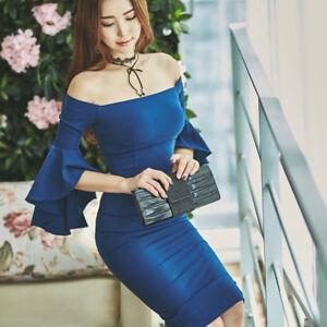 vestito corto abito tubino elegante blu slim morbido moda manica 4866