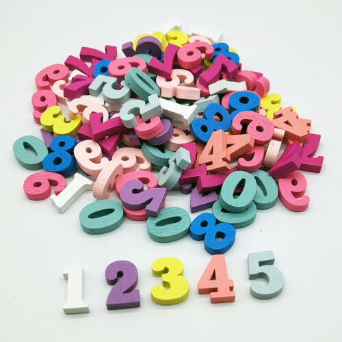 LX/_ 100PCS DIY MIXED COLOR WOODEN LETTERS NUMBERS BLOCK TEACHING MATERIAL NICE