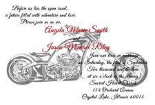 100 Personalized Custom Harley Davidson Motorcycle Bridal Wedding Invitations