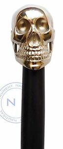 Vintage-Antique-Style-Brass-Wood-Victorian-Walking-Stick-Cane-Skull-Head-Handle