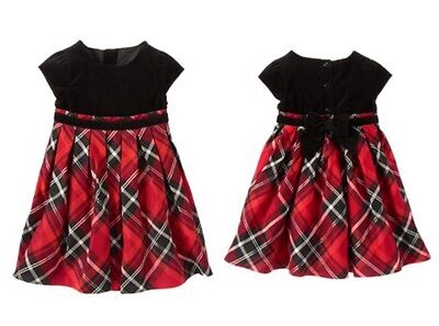 Gymboree Nwt Party Plaid Velveteen Red Black Bow Holiday