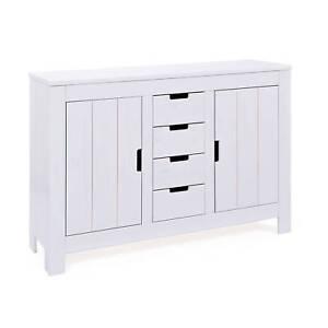 armoire penderie dressing rangement 2 portes 4 tiroirs bois massif blanc ebay. Black Bedroom Furniture Sets. Home Design Ideas
