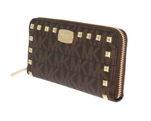 78ff07e2e57b Michael Kors Jet Set Item Studded ZA CONTINENTAL Wallet 35S7GTTZ1B in Brown