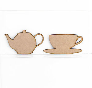 Wooden-MDF-Teapot-Teacup-Craft-Shape-Embellishment-Sign-Blank-3mm-Thick