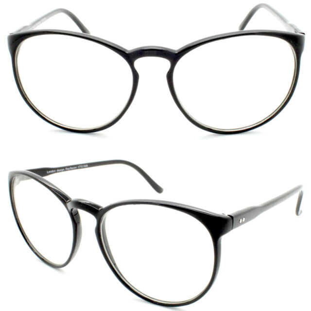 664debba51 Black Tall Round Frame Retro Clear Lens Ladies Glasses Thin Large ...
