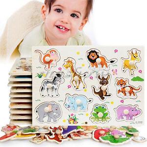 Tiere aus Holz Puzzle Kinder Kinder Baby lernen pädagogisches Spielzeug Neue ZXX