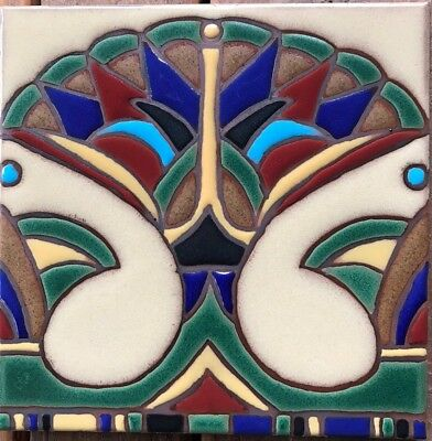 Hearths Fountains Pool Safe Hand-Painted 6x6 Art Deco Tile ~ Stair Risers