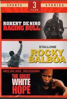 Raging Bull/rocky Balboa/the Great White Hope (3 Dvds) Boxing Stallone, Deniro